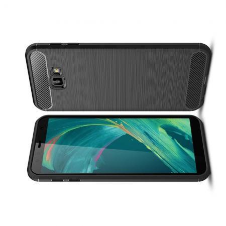 Carbon Fibre Силиконовый матовый бампер чехол для Samsung Galaxy J4 Core Черный
