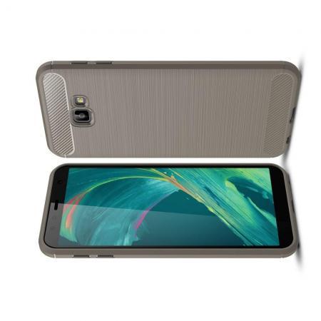 Carbon Fibre Силиконовый матовый бампер чехол для Samsung Galaxy J4 Core Серый