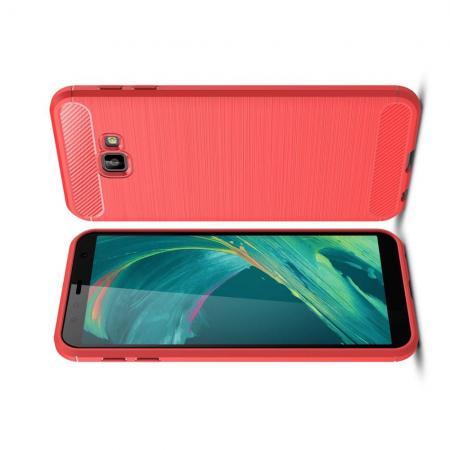 Carbon Fibre Силиконовый матовый бампер чехол для Samsung Galaxy J4 Core Коралловый
