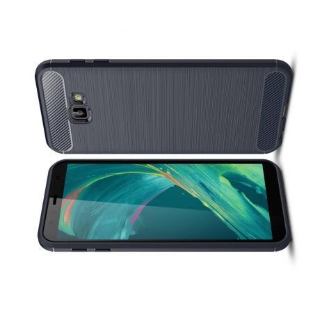 Carbon Fibre Силиконовый матовый бампер чехол для Samsung Galaxy J4 Core Синий
