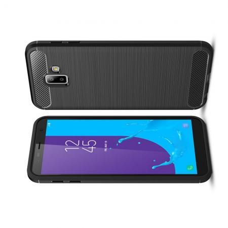 Carbon Fibre Силиконовый матовый бампер чехол для Samsung Galaxy J6+ 2018 SM-J610F Черный