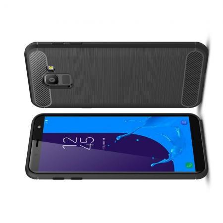 Carbon Fibre Силиконовый матовый бампер чехол для Samsung Galaxy J6 SM-J600 Черный
