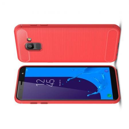 Carbon Fibre Силиконовый матовый бампер чехол для Samsung Galaxy J6 SM-J600 Коралловый