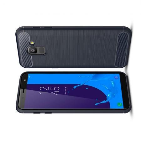 Carbon Fibre Силиконовый матовый бампер чехол для Samsung Galaxy J6 SM-J600 Синий
