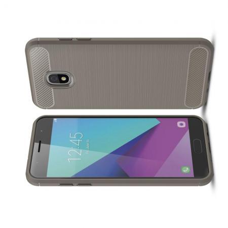 Carbon Fibre Силиконовый матовый бампер чехол для Samsung Galaxy J7 2018 Серый