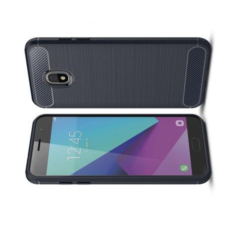 Carbon Fibre Силиконовый матовый бампер чехол для Samsung Galaxy J7 2018 Черный