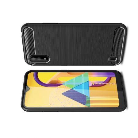 Carbon Fibre Силиконовый матовый бампер чехол для Samsung Galaxy M01 Черный