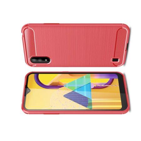 Carbon Fibre Силиконовый матовый бампер чехол для Samsung Galaxy M01 Красный