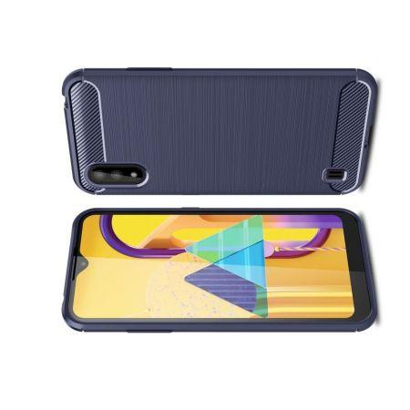 Carbon Fibre Силиконовый матовый бампер чехол для Samsung Galaxy M01 Синий