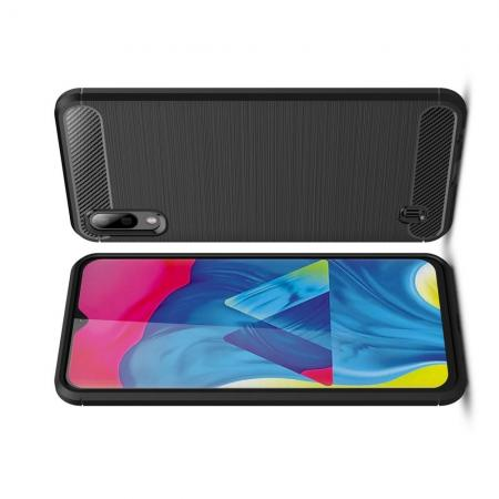 Carbon Fibre Силиконовый матовый бампер чехол для Samsung Galaxy M10 Черный