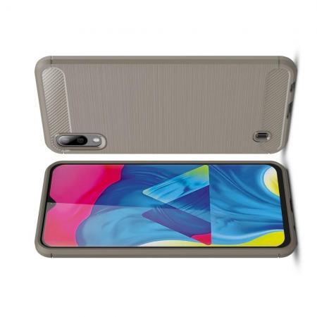 Carbon Fibre Силиконовый матовый бампер чехол для Samsung Galaxy M10 Серый