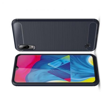 Carbon Fibre Силиконовый матовый бампер чехол для Samsung Galaxy M10 Синий