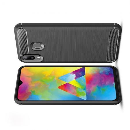 Carbon Fibre Силиконовый матовый бампер чехол для Samsung Galaxy M20 Черный