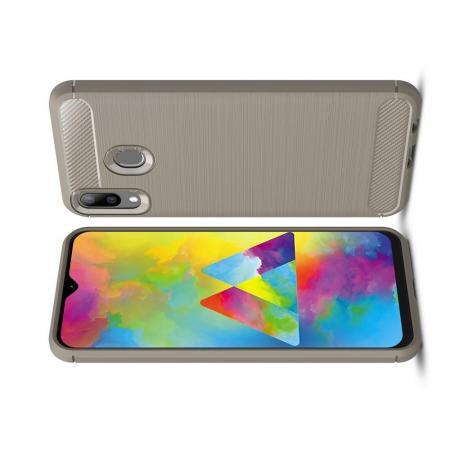 Carbon Fibre Силиконовый матовый бампер чехол для Samsung Galaxy M20 Серый