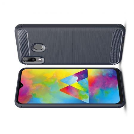 Carbon Fibre Силиконовый матовый бампер чехол для Samsung Galaxy M20 Синий