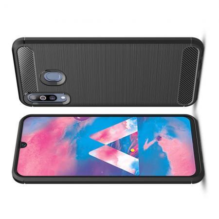 Carbon Fibre Силиконовый матовый бампер чехол для Samsung Galaxy M30 Черный