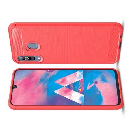 Carbon Fibre Силиконовый матовый бампер чехол для Samsung Galaxy M30 Коралловый