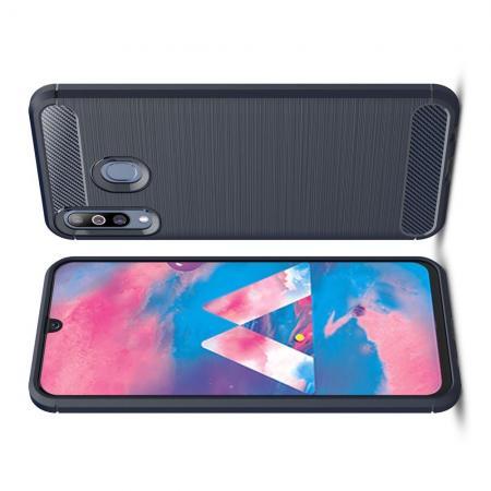 Carbon Fibre Силиконовый матовый бампер чехол для Samsung Galaxy M30 Синий