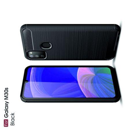 Carbon Fibre Силиконовый матовый бампер чехол для Samsung Galaxy M30s Черный