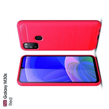 Carbon Fibre Силиконовый матовый бампер чехол для Samsung Galaxy M30s Красный