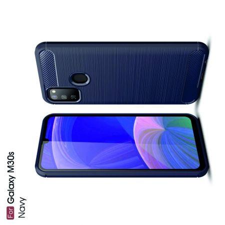 Carbon Fibre Силиконовый матовый бампер чехол для Samsung Galaxy M30s Синий