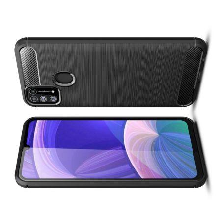 Carbon Fibre Силиконовый матовый бампер чехол для Samsung Galaxy M31 Черный