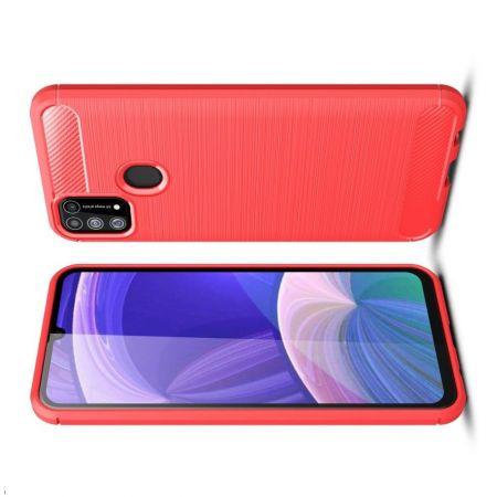 Carbon Fibre Силиконовый матовый бампер чехол для Samsung Galaxy M31 Красный