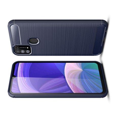 Carbon Fibre Силиконовый матовый бампер чехол для Samsung Galaxy M31 Синий
