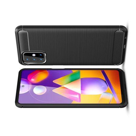 Carbon Fibre Силиконовый матовый бампер чехол для Samsung Galaxy M31s Черный