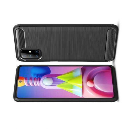 Carbon Fibre Силиконовый матовый бампер чехол для Samsung Galaxy M51 Черный