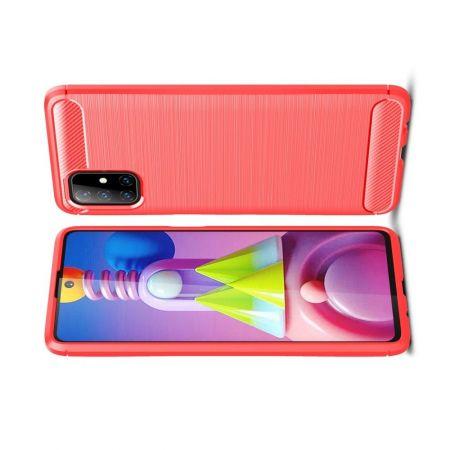 Carbon Fibre Силиконовый матовый бампер чехол для Samsung Galaxy M51 Красный