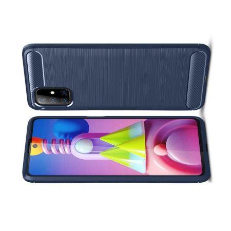 Carbon Fibre Силиконовый матовый бампер чехол для Samsung Galaxy M51 Синий