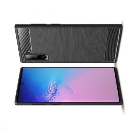 Carbon Fibre Силиконовый матовый бампер чехол для Samsung Galaxy Note 10 Черный