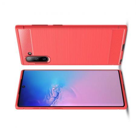 Carbon Fibre Силиконовый матовый бампер чехол для Samsung Galaxy Note 10 Коралловый