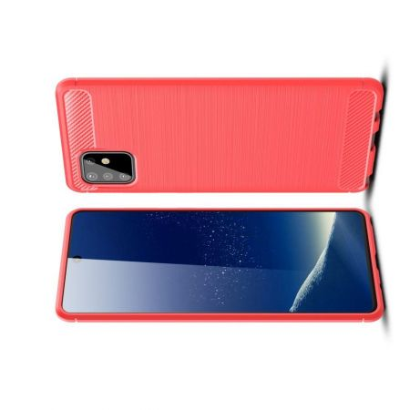 Carbon Fibre Силиконовый матовый бампер чехол для Samsung Galaxy Note 10 Lite Красный