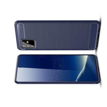 Carbon Fibre Силиконовый матовый бампер чехол для Samsung Galaxy Note 10 Lite Синий
