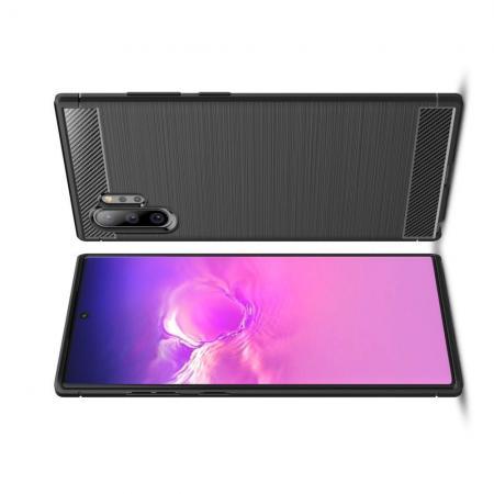 Carbon Fibre Силиконовый матовый бампер чехол для Samsung Galaxy Note 10 Plus Черный
