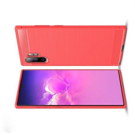 Carbon Fibre Силиконовый матовый бампер чехол для Samsung Galaxy Note 10 Plus Коралловый