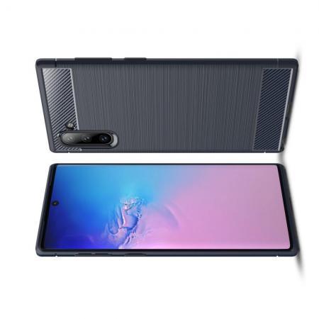 Carbon Fibre Силиконовый матовый бампер чехол для Samsung Galaxy Note 10 Синий
