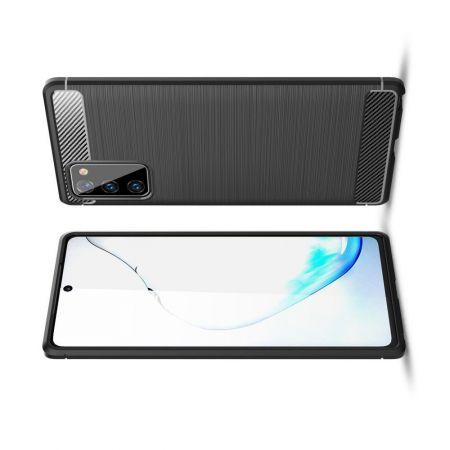 Carbon Fibre Силиконовый матовый бампер чехол для Samsung Galaxy Note 20 Черный