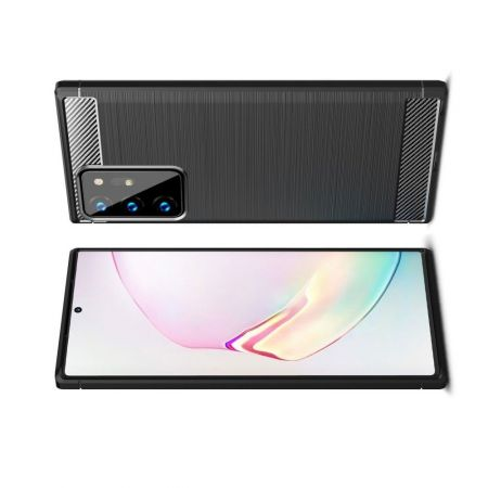 Carbon Fibre Силиконовый матовый бампер чехол для Samsung Galaxy Note 20 Ultra Черный