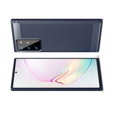 Carbon Fibre Силиконовый матовый бампер чехол для Samsung Galaxy Note 20 Ultra Синий