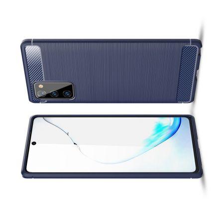 Carbon Fibre Силиконовый матовый бампер чехол для Samsung Galaxy Note 20 Синий
