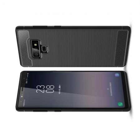 Carbon Fibre Силиконовый матовый бампер чехол для Samsung Galaxy Note 9 Черный