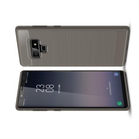 Carbon Fibre Силиконовый матовый бампер чехол для Samsung Galaxy Note 9 Серый