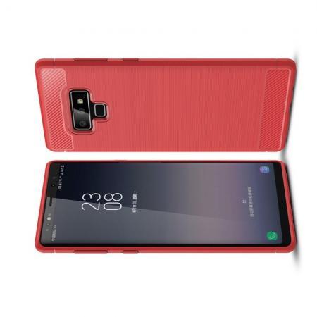 Carbon Fibre Силиконовый матовый бампер чехол для Samsung Galaxy Note 9 Красный