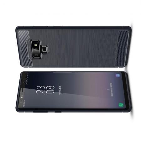Carbon Fibre Силиконовый матовый бампер чехол для Samsung Galaxy Note 9 Синий