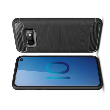 Carbon Fibre Силиконовый матовый бампер чехол для Samsung Galaxy S10e Черный
