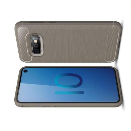 Carbon Fibre Силиконовый матовый бампер чехол для Samsung Galaxy S10e Серый