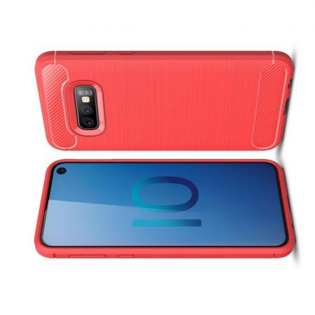Carbon Fibre Силиконовый матовый бампер чехол для Samsung Galaxy S10e Коралловый